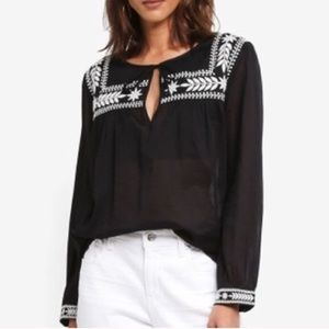 J. Crew Embroidered Long Sleeve Blouse